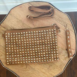 Tan Purse with Gold Spikes